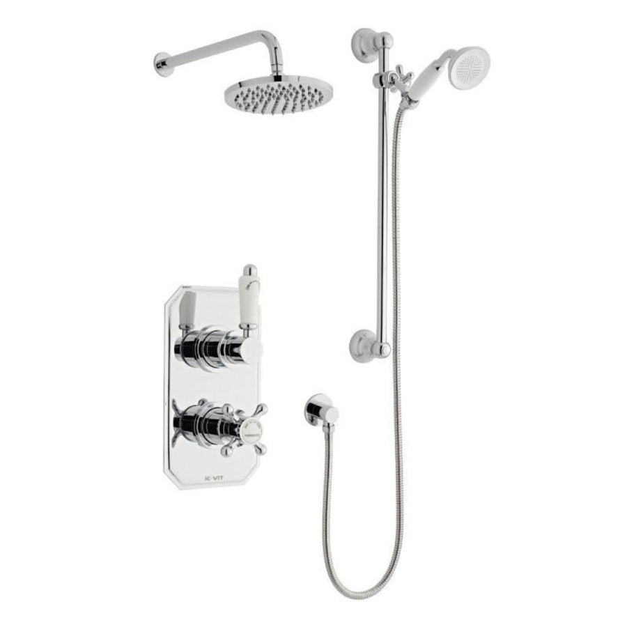 Kartell Viktory 3 Thermostatic Concealed Shower with Slide Rail Kit and Drencher - EverythingBathroom.co.uk