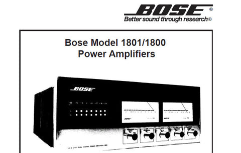 BOSE 1800 1801 STEREO POWER AMPLIFIERS SERVICE MANUAL INC BLK DIAG PCB'S SCHEM DIAG TRSHOOT GUIDE AND PARTS LIST 32 PAGES ENG