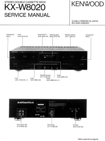 KENWOOD KX-W8020 STEREO DOUBLE CASSETTE TAPE DECK SERVICE MANUAL INC BLK DIAG SCHEM DIAG WIRING DIAG AND PARTS LIST 10 PAGES ENG