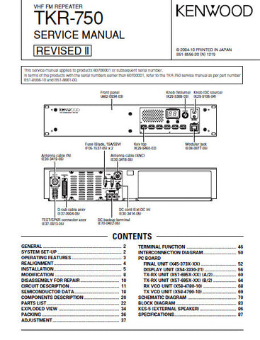 KENWOOD TKR-750 VHF FM REPEATER SERVICE MANUAL REVISED II INC BLK DIAG PCBS SCHEM DIAG AND PARTS LIST 101 PAGES ENG
