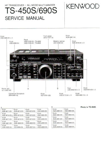 KENWOOD TS-450S TS-690S HF TRANSCEIVER ALL MODE MULTIBANDER SERVICE MANUAL INC BLK DIAGS PCBS SCHEM DIAGS AND PARTS LIST 184 PAGES ENG