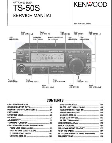 KENWOOD TS-50S HF TRANSCEIVER SERVICE MANUAL INC BLK DIAG PCBS SCHEM DIAGS AND PARTS LIST 130 PAGES ENG