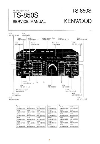 KENWOOD TS-850S HF TRANSCEIVER SERVICE MANUAL INC BLK DIAG AND PARTS LIST 115 PAGES ENG