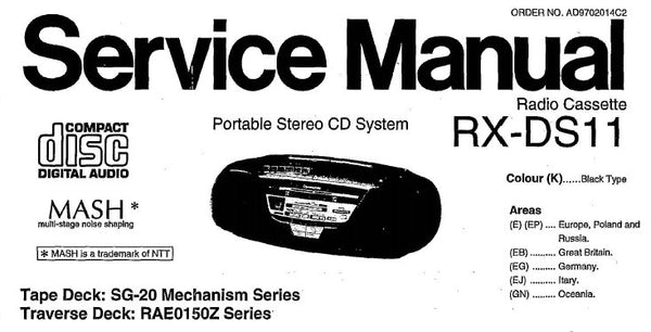 NATIONAL RX-DS11 PORTABLE STEREO CD SYSTEM SERVICE MANUAL