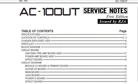 ROLAND AC-100UT ACOUSTIC CHORUS GUITAR AMPLIFIER SERVICE NOTES INC BLK DIAG CIRCUIT DIAGS AND PARTS LIST 14 PAGES ENG
