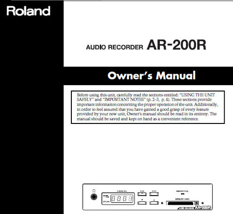 ROLAND AR-200R AUDIO RECORDER OWNER'S MANUAL INC CONN DIAGS AND TRSHOOT GUIDE 72 PAGES ENG