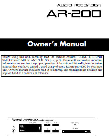 ROLAND AR-200 AUDIO RECORDER OWNER'S MANUAL INC CONN DIAGS AND TRSHOOT GUIDE 72 PAGES ENG