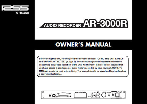 ROLAND AR-3000R AUDIO RECORDER OWNER'S MANUAL INC CONN DIAGS AND TRSHOOT GUIDE 152 PAGES ENG