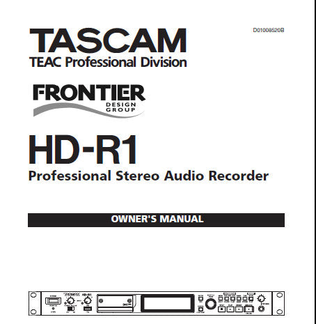 TASCAM HD-R1 PROFESSIONAL STEREO AUDIO RECORDER OWNER'S MANUAL 32 PAGES ENG