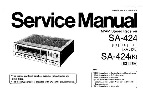 TECHNICS SA-424 FM AM STEREO RECEIVER SERVICE MANUAL INC