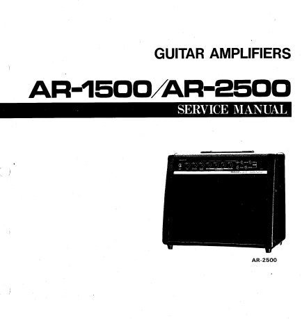 YAMAHA AR-1500 AR-2500 GUITAR AMPLIFIER SERVICE MANUAL INC BLK DIAG PCB'S SCHEM DIAGS AND PARTS LIST 16 PAGES ENG