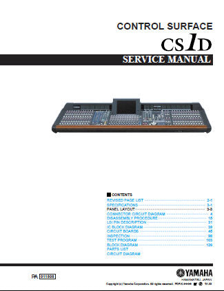 YAMAHA CS1D CONTROL SURFACE MIXING CONSOLE SERVICE MANUAL INC CONN CIRC DIAG CIRC BOARDS BLK DIAG AND PARTS LIST 479 PAGES ENG