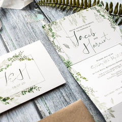 Botanical Wilderness Concertina Evening Wedding Invitations
