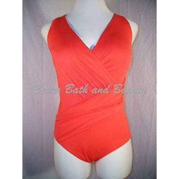 Tropical Escape Missy Retro Swim Crossover Rouched One Piece Swim Suit 14 Tomato - Better Bath and Beauty