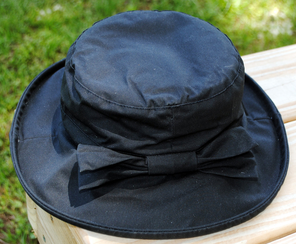 Waxed Cotton Ladies Hat - Black
