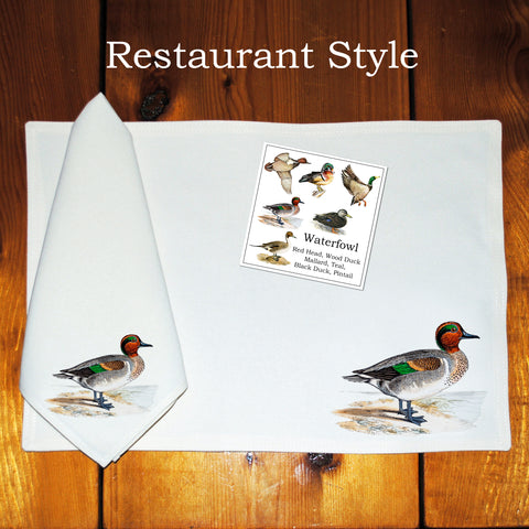 Table Linens, Set of Six - Assorted Waterfowl