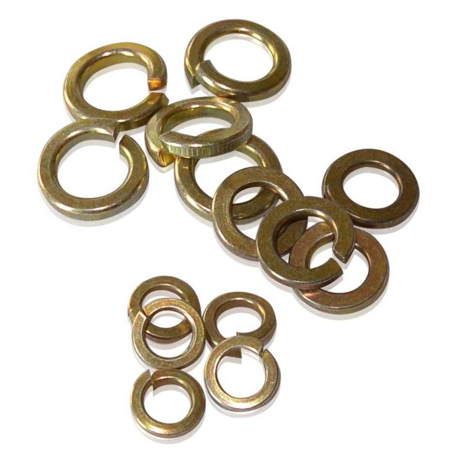 M10 Split Lock Washer | Gold CAD Plated | DIN 127-B, Gold Cadmium Hardware JIS - Overland Metric