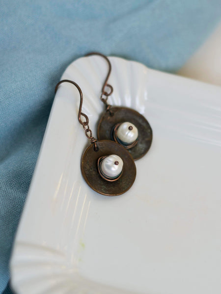 Antic Coin Pendant and earrings set with fresh water pearls