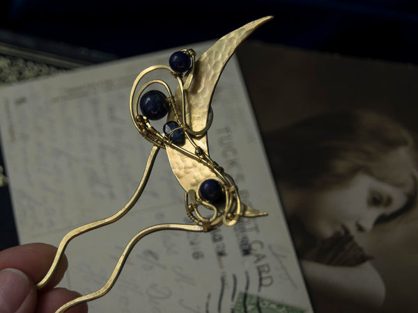 Art Nouveau moon hair pin in golden brass