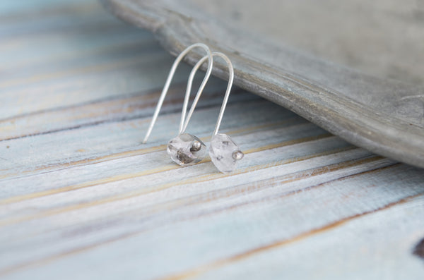 Singylarity Minimal Herkimer diamond sterling silver earrings - MoonDome - 1
