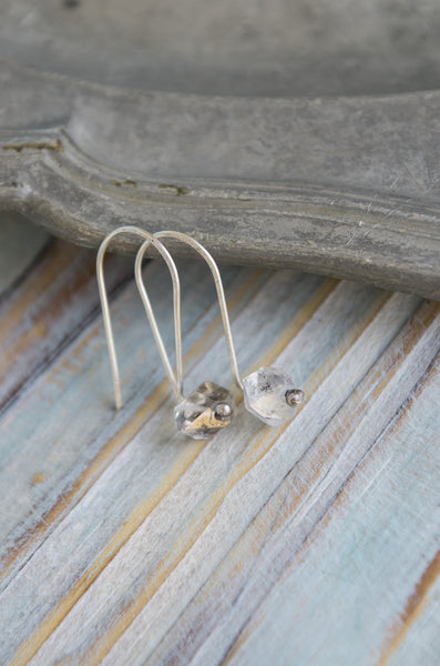 Singylarity Minimal Herkimer diamond sterling silver earrings - MoonDome - 3