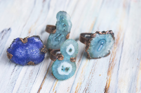 Solar quartz Large statement rustic ring - MoonDome - 1