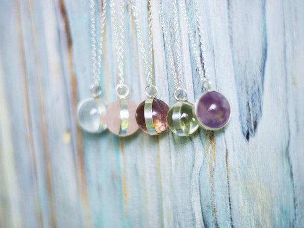 Silver LaLuna Orb Crystal Globe pendant in Amethysth, Rose and Clear Quartz - MoonDome - 1