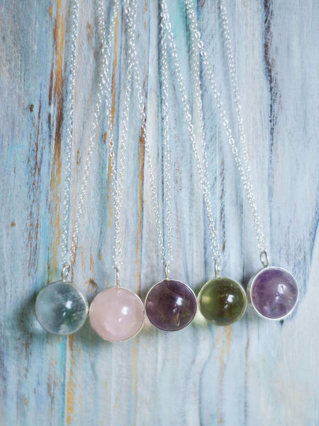 Silver LaLuna Orb Crystal Globe pendant in Amethysth, Rose and Clear Quartz - MoonDome - 7