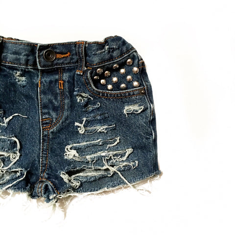 Non Dyed Distressed Denim Shorties and Cutoffs