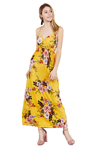 Khanomak Women's V Neck Floral Print Cami Maxi Long Casual Dress