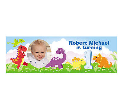 1st Birthday Dinosaur Photo Banner