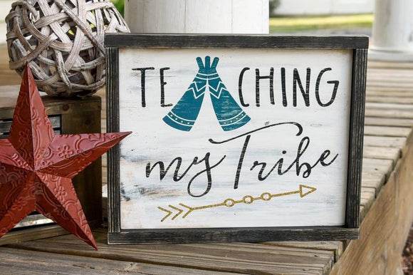 FREE SHIPPING!!!   Teaching my tribe wood sign I  Tribe sign I  Teacher sign I  Teacher decor I  Teacher gift  I  Classroom sign I  Classroom I  Back to school