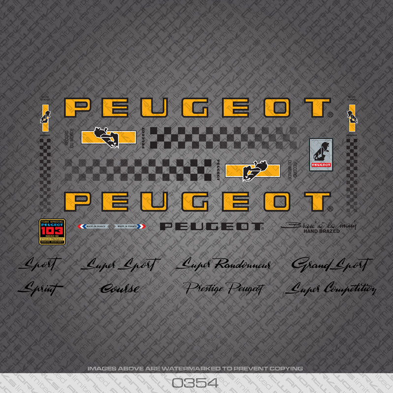 Peugeot PX/PY10 Bicycle Decals - Yellow/Black - www.bicyclestickers.co.uk