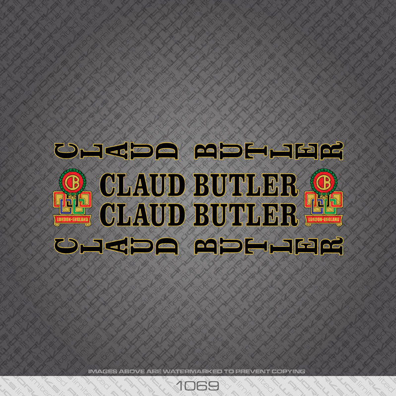 Claud Butler Bicycle Decals - Black Lettering With Gold Keyline - www.bicyclestickers.co.uk