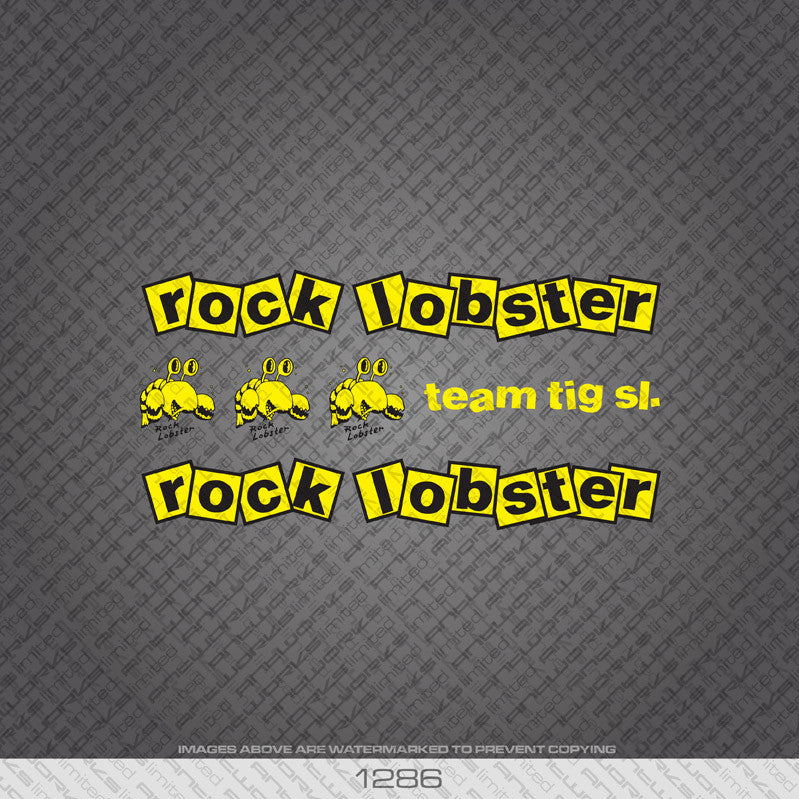 Rock Lobster Bicycle Decals - Yellow/Black - www.bicyclestickers.co.uk