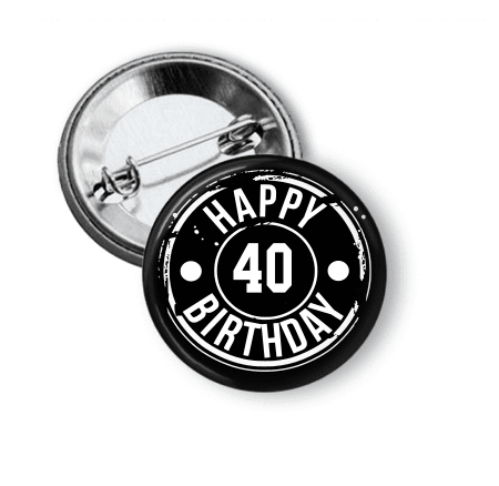 Birthday - Black and White Button - Clowdus Creations