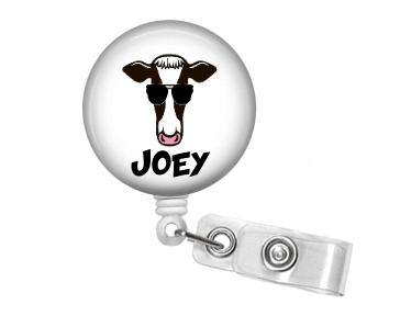 Badge Reel - Cow and Sunglasses - Clowdus Creations