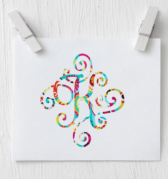 Single Letter Monogram - Patterned Vinyl Decal - Clowdus Creations