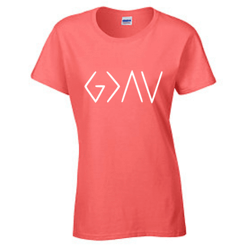 Ladies Short Sleeve T-shirt - God is greater than the highs and lows - Clowdus Creations