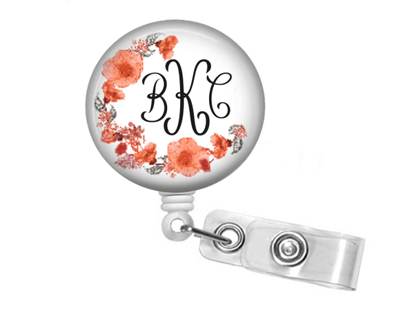 ID Badge Reel - Pink Watercolor Floral badge reel - Clowdus Creations