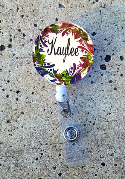 ID Badge Reel - Colorful Floral Wreath - Clowdus Creations