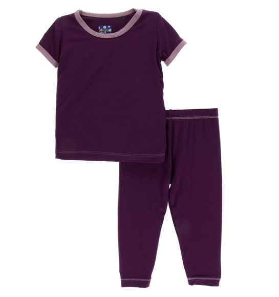 Kickee Pants Solid Short Sleeve Pajama Set - Wine Grapes with Raisin