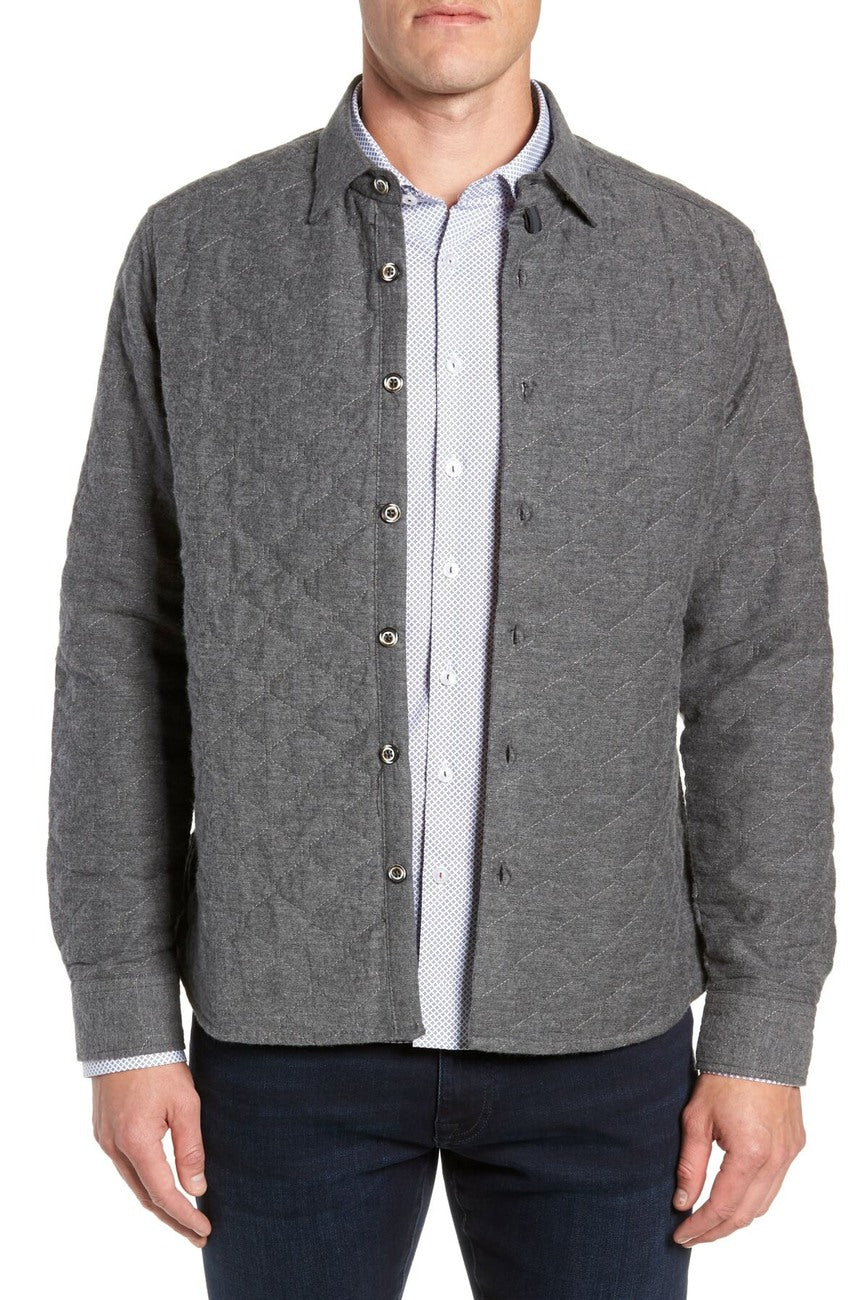 Portland Quilted Shirt Jacket - Charcoal