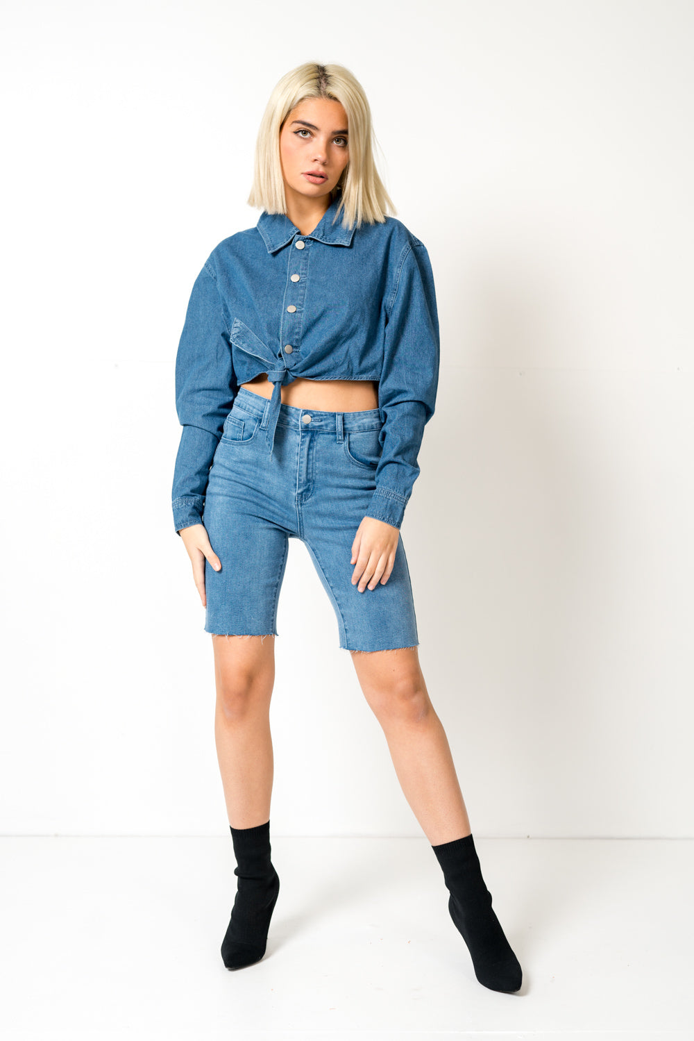 FAE LONDON - DULWICH OVERSIZED CROPPED DENIM SHIRT