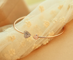 Heart crystal love opening gold Siliver plated bracelet