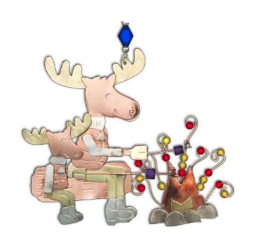 Campfire & Moose- Whimsical Special Occasion & Christmas Ornament