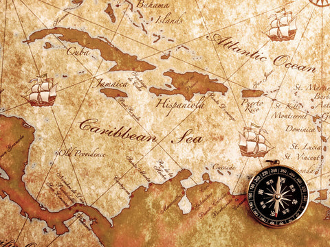 Compass on a Caribean Treasure Map