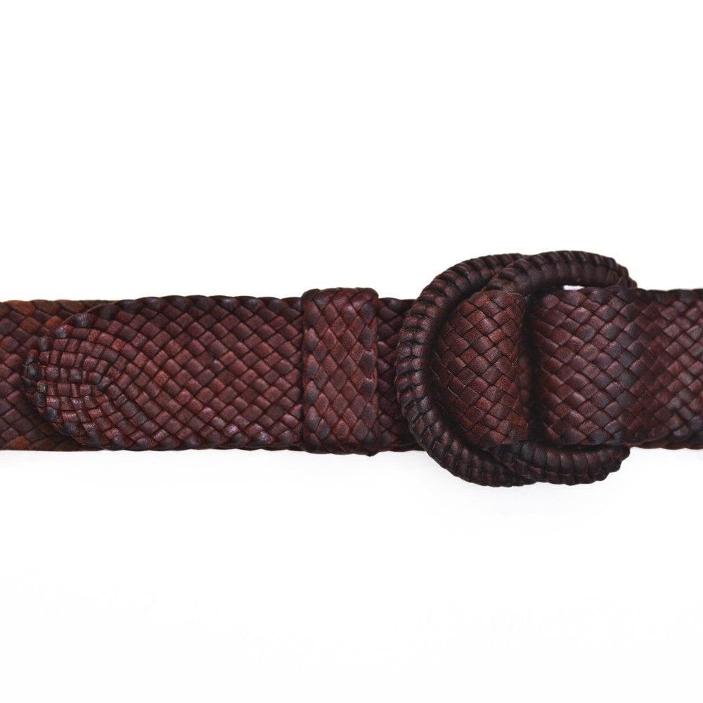 Hand plaited kangaroo leather belt - Whisky