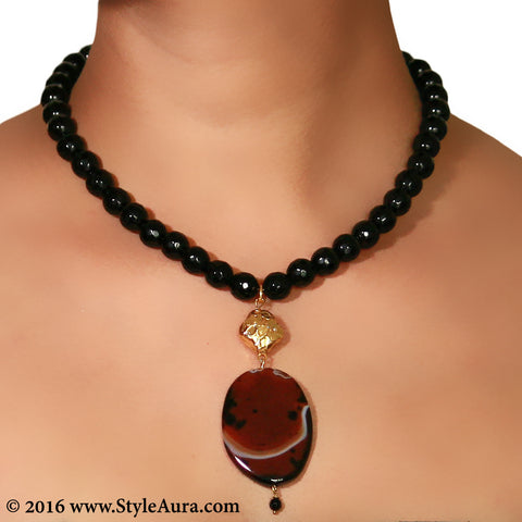 Black Onyx with Gold plated bead and Brown Agate pendant 2