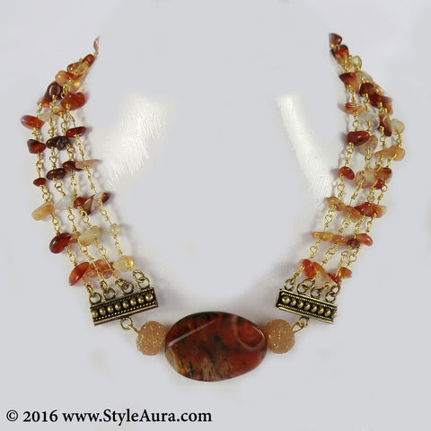 Brown Agates Choker and side Cezete beads with Coper attachments 1